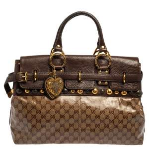 Gucci Beige/Brown GG Crystal Canvas and Leather Babouska Satchel