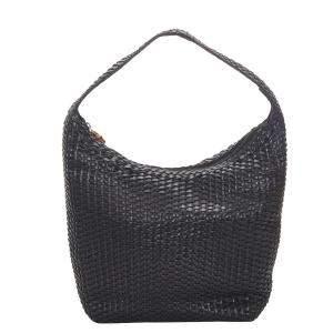 Gucci Black Leather Bamboo Basketweave Shoulder Bag