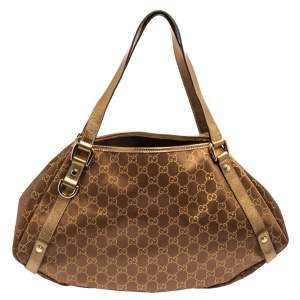 Gucci Gold/Bronze GG Fabric and Leather Medium Abbey D Ring Shoulder Bag