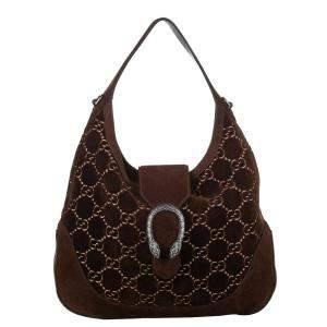 Gucci Brown/Dark Brown GG Velvet Dionysus Satchel Bag