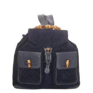 Gucci Black Suede and Leather Bamboo Drawstring Backpack