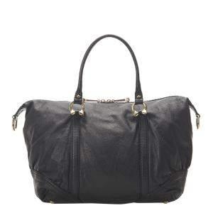 Gucci Black Leather Horsebit Nail Boston Bag