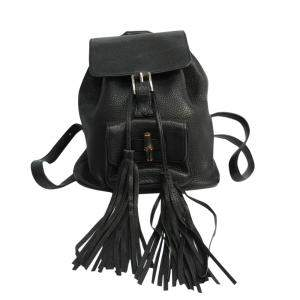 Gucci Black Leather Bamboo Backpack