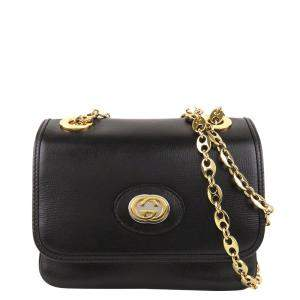 Gucci Black Leather Mini Marina Shoulder Bag