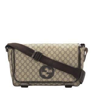 Gucci Brown/Beige GG Supreme Crossbody Bag