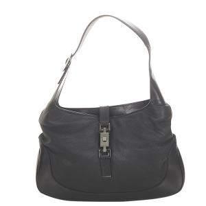 Gucci Black Leather Jackie Hobo Bag