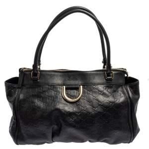 Gucci Black Guccissima Leather D-Ring Tote