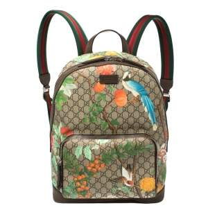 Gucci Multicolor GG Supreme Tian Print Canvas and Leather Backpack