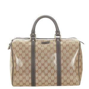 Gucci Brown/Beige Crystal Canvas Joy Duffel Bag