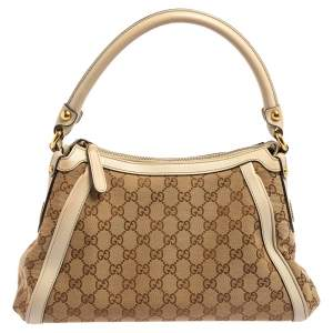 Gucci White/Beige GG Canvas and Leather Scarlett Hobo
