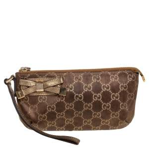 Gucci Brown GG Nylon and Leather Princy Wristlet Clutch