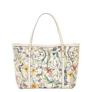 Gucci White/Multicolor Leather Flora Nice Tote Bag