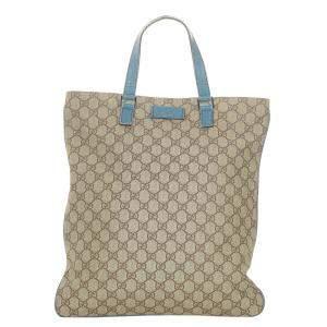 Gucci Brown/Blue GG Supreme Canvas Tote Bag