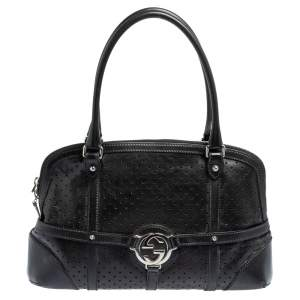 Gucci Black Perforated Leather GG Reins Satchel