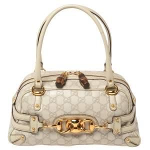 Gucci Off White Guccissima Leather Wave Boston Bag