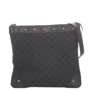 Gucci Black Canvas Fabric Shoulder Bag