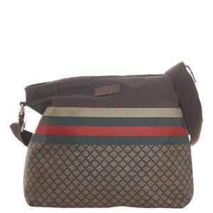 Gucci Beige/Brown Diamante Web Canvas Crossbody Bag
