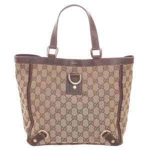 Gucci Brown/Beige GG Canvas Abbey Tote Bag