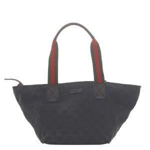 Gucci Black Canvas  Web Tote Bag