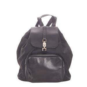 Gucci Black Nylon and Leather Jackie Drawstring Backpack