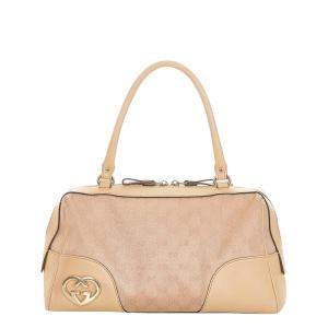 Gucci Beige GG Canvas and Leather Lovely Boston Bag
