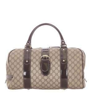 Gucci Brown/Beige GG Canvas/Leather Boston Bag