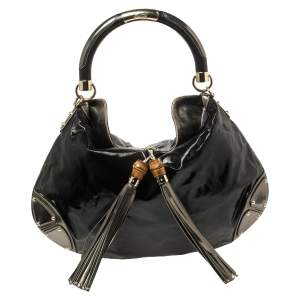 حقيبة هوبو غوتشي هوبو بابوسكا اندي جلد وكانفاس مقوى أسود كبيرة