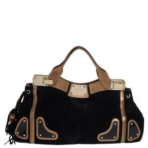 Gucci Black/Metallic Gold Suede and Leather Satchel