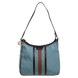 Gucci Blue/Dark Brown Nylon and Leather Vintage Web Hobo