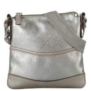 Gucci Silver GG Imprime Canvas Crossbody Bag