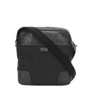 Gucci Black Leather Fabric Nylon Shoulder Bag