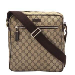 Gucci Brown/Beige GG Supreme Canvas Crossbody Bag