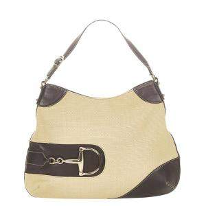 Gucci Beige Fabric Hasler Horsebit Shoulder Bag