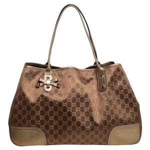 Gucci Gold/Brown GG Fabric and Leather Large Princy Tote