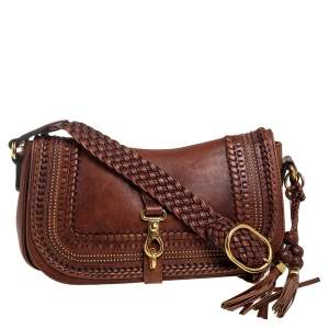 Gucci Brown Woven Leather Medium Handmade Shoulder Bag