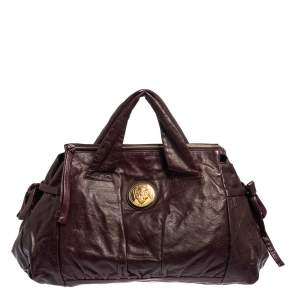Gucci Burgundy Leather Large Hysteria Tote