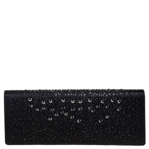 Gucci Black Satin Crystal Embellished Clutch