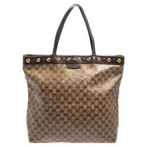 Gucci Beige/Ebony GG Crystal and Leather Large Babouska Vertical Shopping Tote