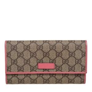 Gucci Beige/Pink GG Supreme Canvas and Leather Continental Wallet