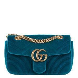 Gucci Blue Velvet GG Marmont Mini Crossbody Bag