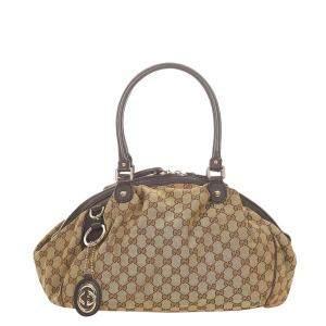 Gucci Brown Canvas Leather Sukey Shoulder Bag