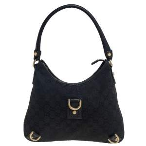 Gucci Black GG Canvas Small Abbey D Ring Hobo