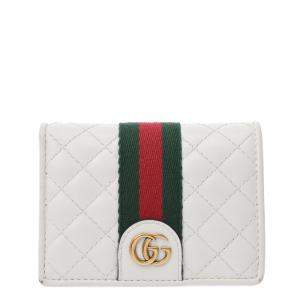 Gucci White Quilted Leather GG Marmont Web Wallet