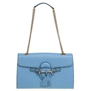حقيبة كتف غوتشي ايميلي متوسطة بسلسلة جلد مايكروغوتشيسيما  أزرق