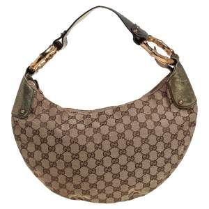 Gucci Beige/Gold GG Canvas and Leather Medium Bamboo Ring Hobo