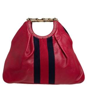 Gucci Red Leather Web Metal Bamboo Tote