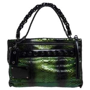 Gucci Metallic Green Python Leather Metal Studs Chain Clutch