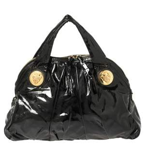 Gucci Black Patent Leather Large Hysteria Tote