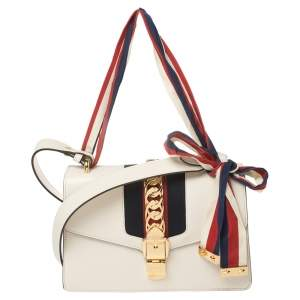 Gucci White Leather Small Web Chain Sylvie Shoulder Bag