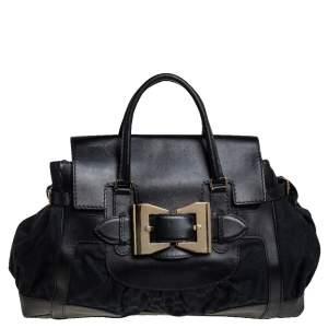 حقيبة يد غوتشي ديالوكس كوين كبيرة جلد وكانفاس جي جي أسود